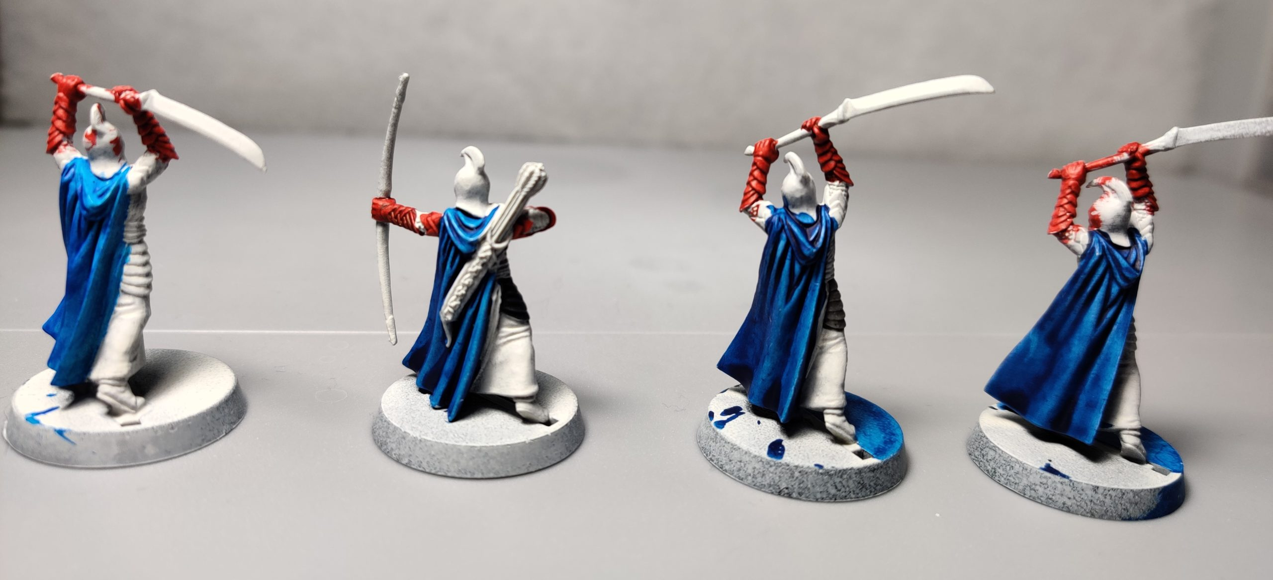 Red, white, and blue LOTR high elves.