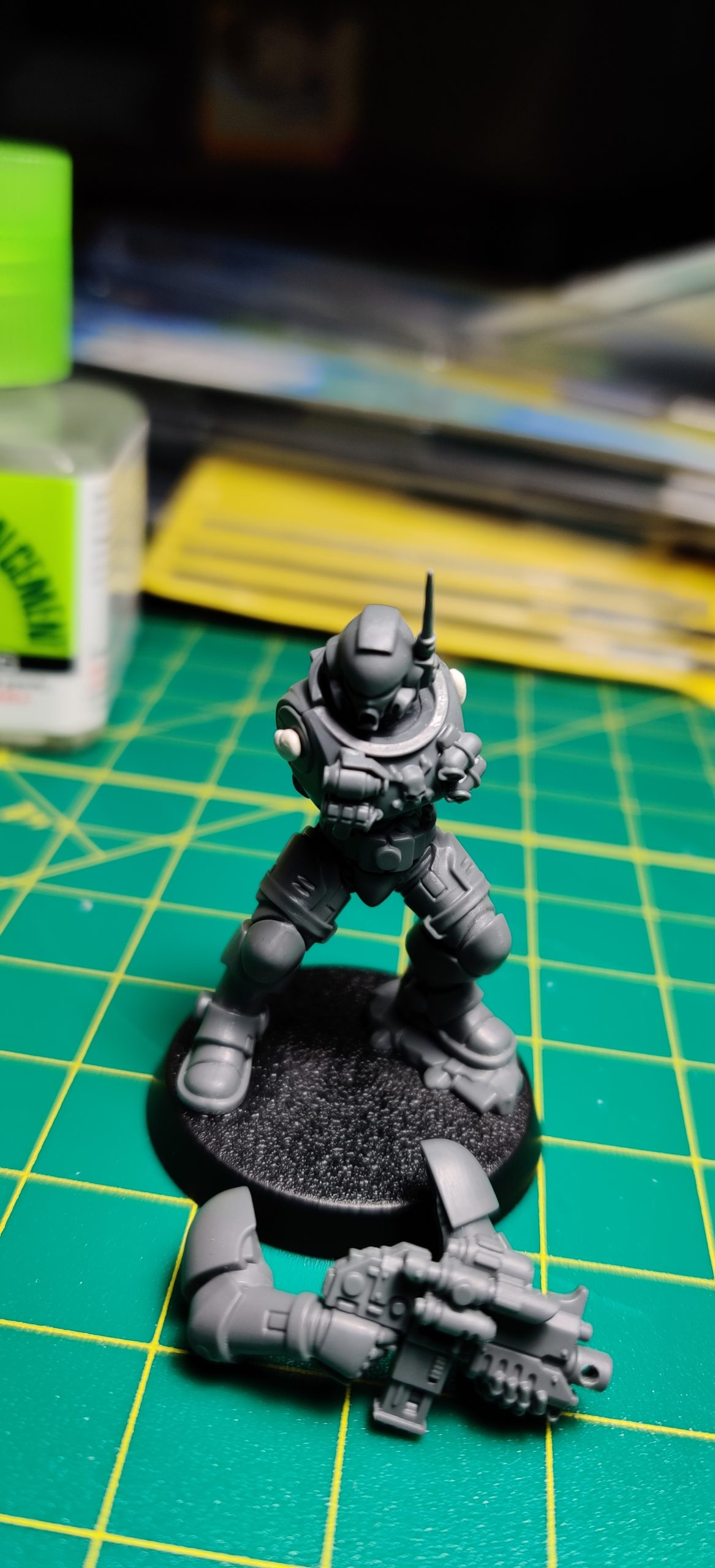 Primaris Space Marine Infiltrator/Incursor ready for a dry fit of his arms with Sticky Tac.