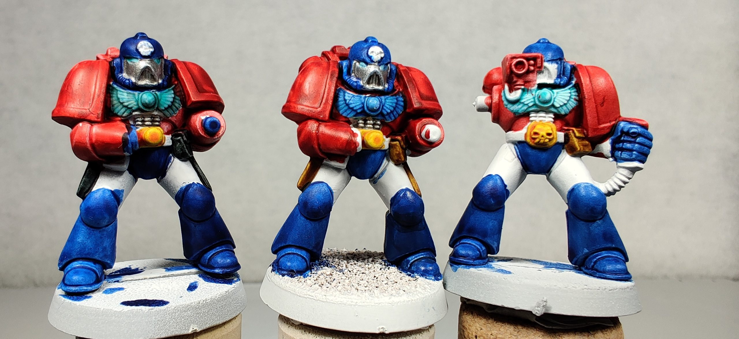 All three 2nd-Edition Space Marine test models of the Fists of the Prime chapter.