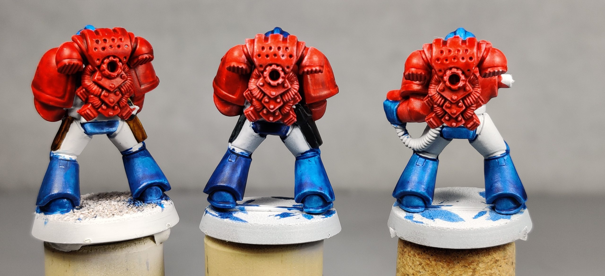 Three 2nd-Edition Space Marine color-test models.