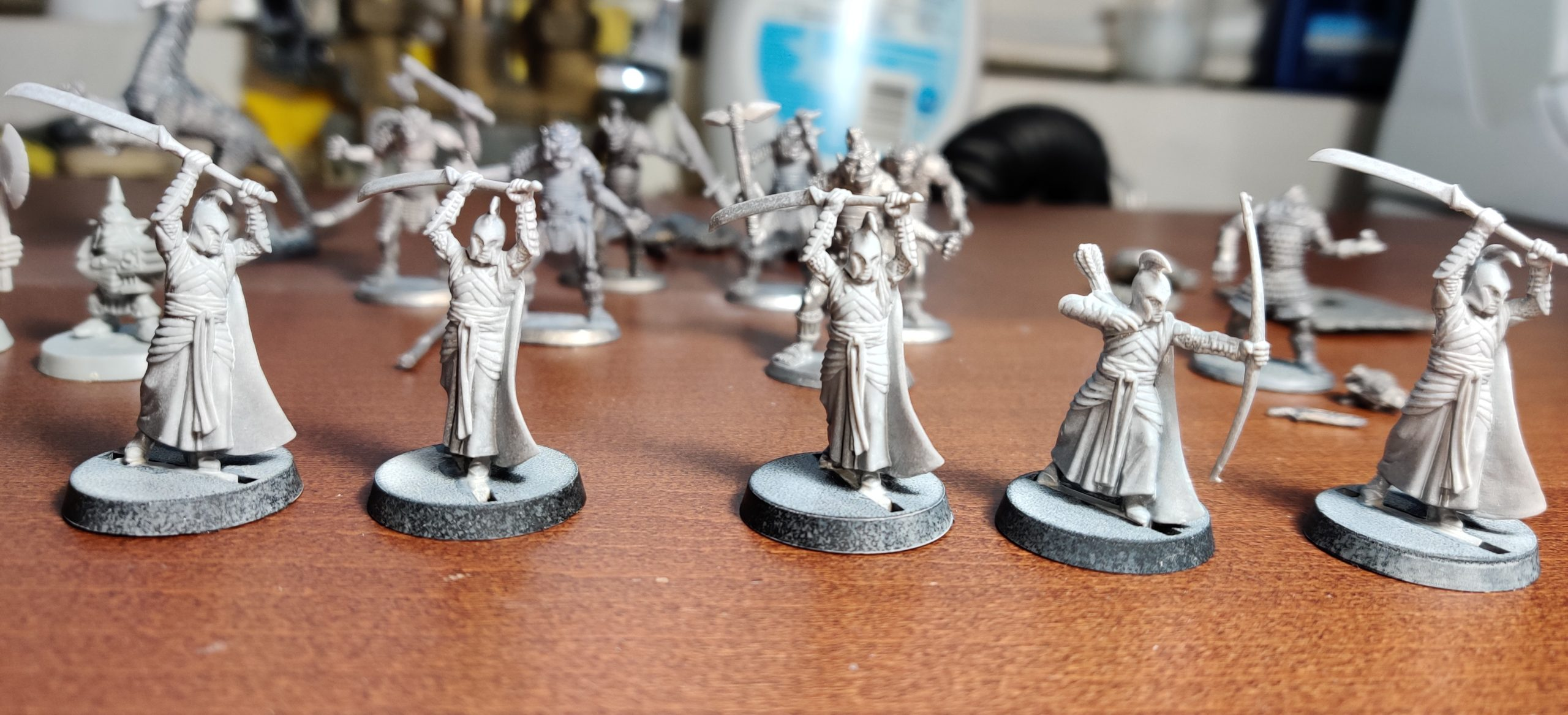 LotR High Elves color-test models after being stripped of paint.
